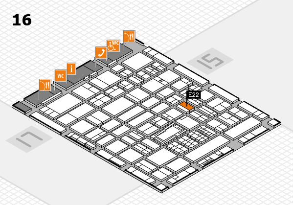 ProWein 2018 hall map (Hall 16): stand E22