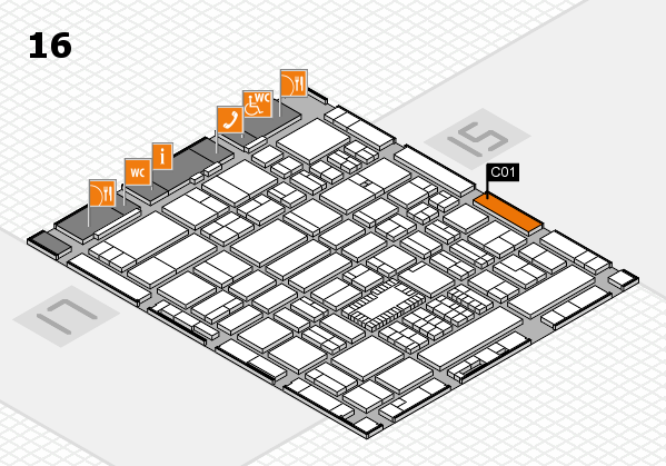ProWein 2018 hall map (Hall 16): stand C01