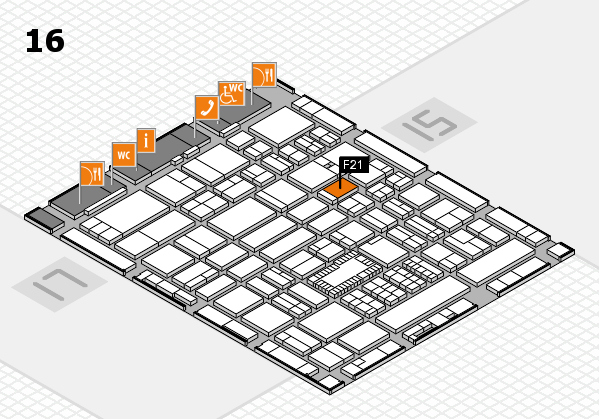 ProWein 2018 hall map (Hall 16): stand F21