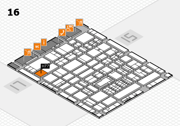 ProWein 2018 hall map (Hall 16): stand H77