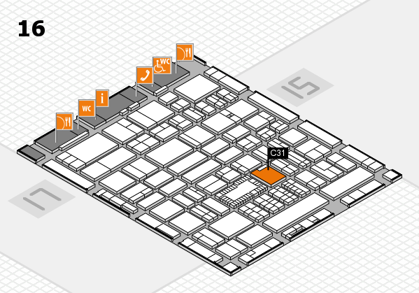 ProWein 2018 hall map (Hall 16): stand C31