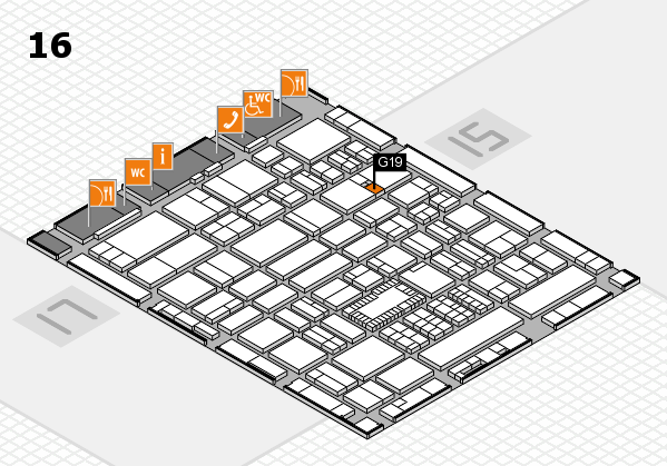 ProWein 2018 hall map (Hall 16): stand G19
