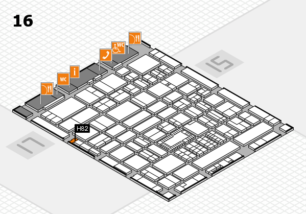 ProWein 2018 hall map (Hall 16): stand H82