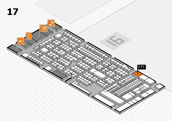 ProWein 2018 hall map (Hall 17): stand F71